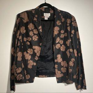 Adrianna Papell Vintage 100% Silk Floral Blazer
